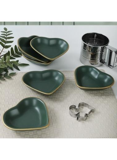 Keramika Keramika 14 cm 6 Adet Mat Kalp Çerezlik Renkli